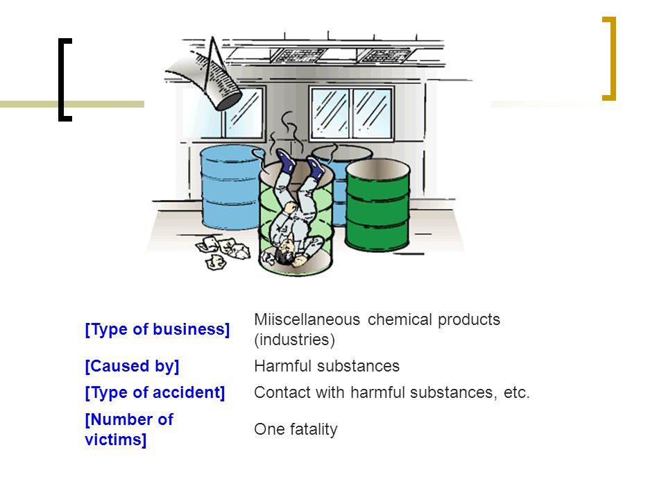 [Type of business] Miiscellaneous chemical products (industries) [Caused by] Harmful substances. [Type of accident]